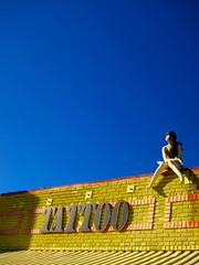 Main Street Tattoo (tobysx70) Tags: california ca street blue toby sky brick mannequin yellow tattoo female digital canon la los angeles main north powershot hancock s90 canonpowershots90 canons90 tobyhancock