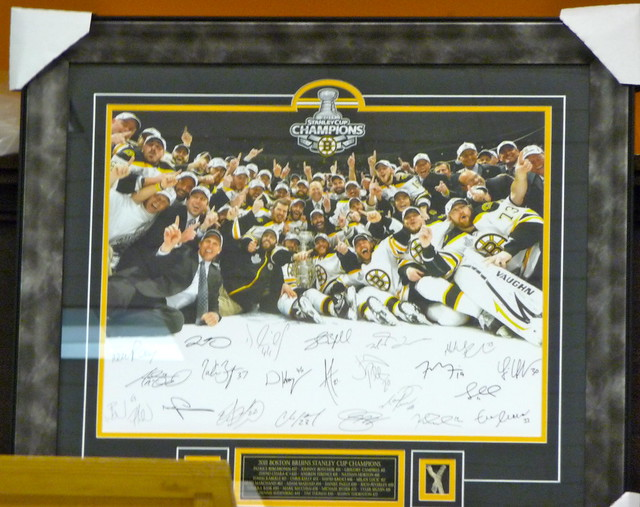 Autographed Bruins photo