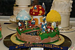 2014 Sydney Royal Easter Show: Decorated Cakes - Smurfs (dominotic) Tags: food cake rural weddingcake sydney australia birthdaycake nsw newsouthwales agriculture smurfs ras amusements homebush theshow artsandcrafts fondant 2014 eastershow sydneyroyaleastershow edibleart 2011 agriculturalshow citymeetscountry decoratedcakes celebrationcakes sugarcake icedcakes icingart producedisplay occasioncake smurfscake
