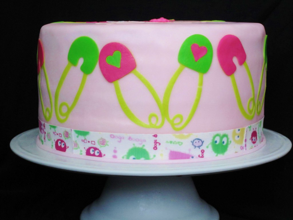 Cloth Diaper Inspired baby shower cake