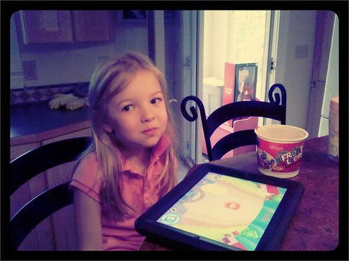 Making memories, Fruit Loops at the Kitchen Island w Dad and Dad's iPad