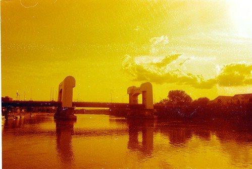Green Island Bridge in Redscale