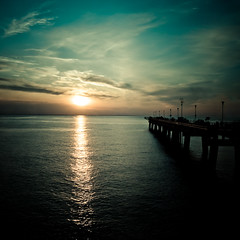 Summer Sunset (Sky Noir) Tags: ocean bridge sunset sea sky reflection film look birds analog bay pier fishing scenery gull gulls hipster scenic tunnel retro chesapeake hamptonroads tidewater mkd cbbt skynoir bybilldickinsonskynoircom