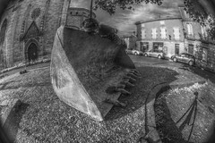 FDT on a Shovel (n0n0ph0t0) Tags: bw white black noir angle wide fisheye tuesday shovel 8mm et blanc hdr peleng agen facedown godet belomo planking tracto tractopelle hfdt