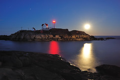 Three Beacons - Nubble Light Good Friday Full Moon April 6, 2012 (MY DOG TAZ) Tags: ocean light sea moon lighthouse seascape night easter stars evening dusk fullmoon beacon nubblelightmaine longexposurelandscape newenglandscenenubble goodfridaynewenglandscenic