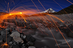 Eruption (Gary Randall) Tags: longexposure lightpainting night oregon whiteriver mthood mounthood steelwool woolspin dsc73732