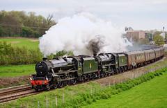 Southbound from Shrewsbury (geoffspages) Tags: geotagged shropshire railway steam shrewsbury lms doubleheader black5 geo:lat=5267092717860555 geo:lon=27547580581665443