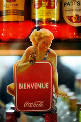 Bienvenue (jmvnoos in Paris) Tags: girls red woman paris france sexy girl smile ads advertising rouge bottle pub nikon women bottles bokeh f14 femme ad smiles whisky cocacola welcome pubs bienvenue bourbon fille sourire publicit filles femmes 50mmf14 bouteille bouteilles sourires publicits d700 jmvnoos