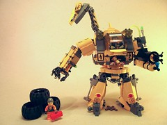 Junkyard Dog (Hammerstein NWC) Tags: lego teddy mini junkyard minifig flamethrower beanie mechanic aa recovery heavymachinery tyres mech hydraulic junkyarddog resq minifigures powerclaw legomecha liftingarm