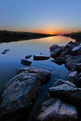 Good Night Sunset (boingyman.) Tags: ca sunset water canon rocks sacramento 1022 foreground natomas uwa t2i boingyman