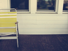 (ohpapercut) Tags: summer white yellow wisconsin contrast chair deck porch  stevenspoint ohpapercut