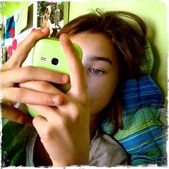 Hipstamatic/10 (Lumase) Tags: square kid sara cellphone texting iphoneography hipstamatic iphone4s pellicolekodotxgrizzled lenteakira