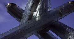 crossed (Asher Isbrucker) Tags: blue winter summer sky glass lines architecture vancouver composition sunny olympics