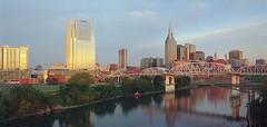 Nashville Skyline -panorama (Joe Fizer) Tags: morning panorama film nashville stitched largeformat musiccity