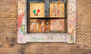 Colorful memories. (Mona - B) Tags: italy rome brick art window colors childhood wall painting souvenirs cadenas closed italia memories trace dessin peinture crayon mur fenêtre artistique enfance mémoire fermer