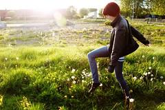 The walk (emaspounder) Tags: summer sun green nature girl grass backlight fun spring walk sunflare