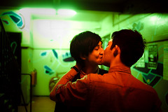 Kiss (TGKW) Tags: school boy red portrait people man men green art boys tattoo bar night lights pub kiss kissing glasgow chinese stairwell nightclub nightlife 8301