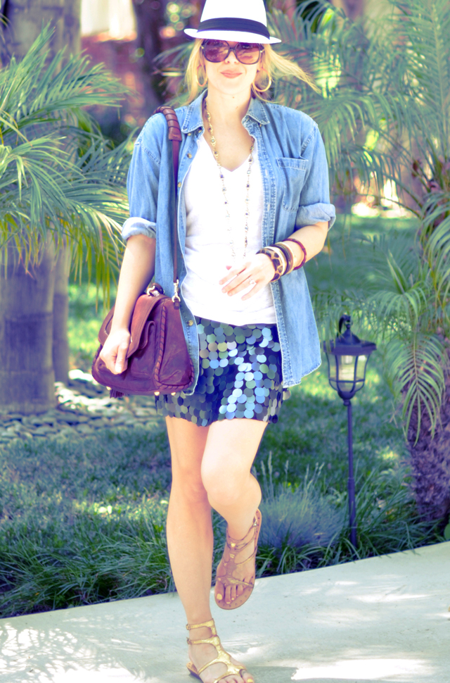 Denim shirt  open + Paillette  mini skirt + bangles