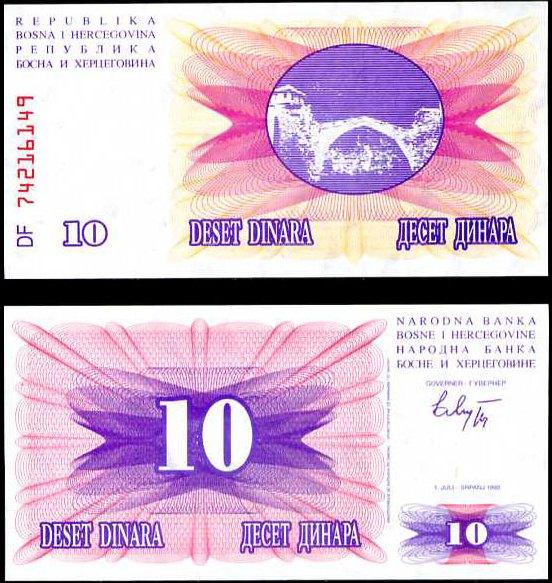 10 Dinárov Bosna Hercegovina 1992, P10