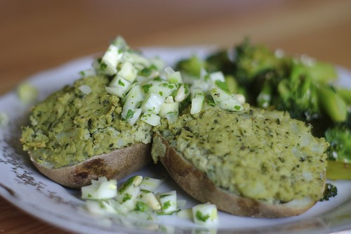 Stuffed Basil Potatoes with Fennel Salsa and Spicy Broccoli