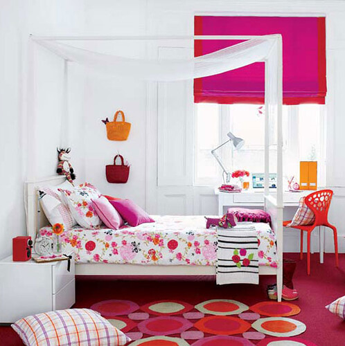 Pink and Orange - Interior Design Girls room via housetohome