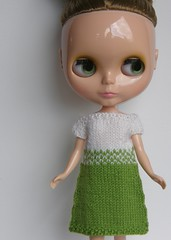Spring Green and White Sweater Dress