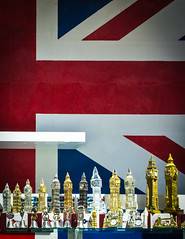 The Biggest Ben (DobingDesign) Tags: england london shop display flag steps patriotic tourist plastic souvenir shopwindow redwhiteandblue unionjack cheesey lineup bigbenmodel inorderofheight