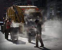 New York Garbage Collection (Carolbreeze99) Tags: street city light people sunlight newyork men truck work garbage working atmosphere steam pollution smell heat worker workman garbagecollector matchpointwinner mpt357