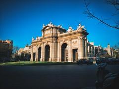Madrid (Marcosnr92) Tags: madrid street city sunset buildings spain horizon towers granvia iphone colourfull