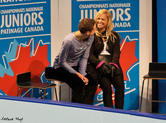 Nepton in the Kiss & Cry (Melanie Heaney) Tags: men sports action coaching figureskating kissandcry 2011canadians mathieunepton