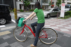 Kyoto woman cycling