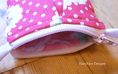 Cerise rose coin purse zip