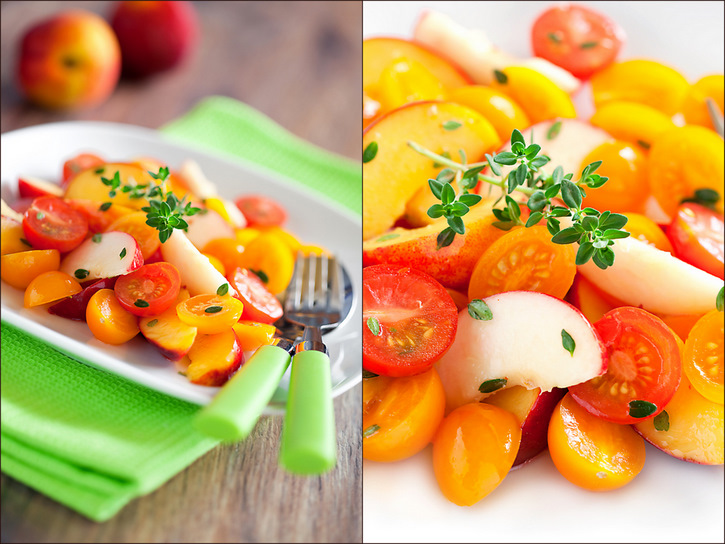Peaches and cherry tomatoes salad
