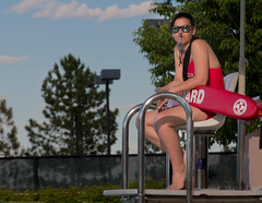 Lifeguard on Duty with Whistle