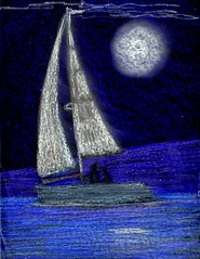 Midnight Sail (traqair57) Tags: sea seascape art sailboat boats drawing midnight yachts crayons yachting stushie