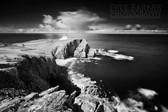 Stoer Lighthouse (Pete Barnes Photography) Tags: longexposure sea blackandwhite lighthouse storm monochrome mono scotland blackwhite rocks cliffs stoer stoerlighthouse