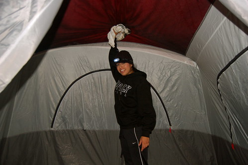 Lori Tries To Fight The Leaks In Our Tent During The Thunderstorm