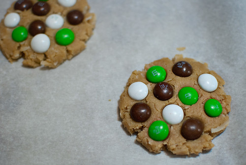 Coconut M&M Cookies-candy placement