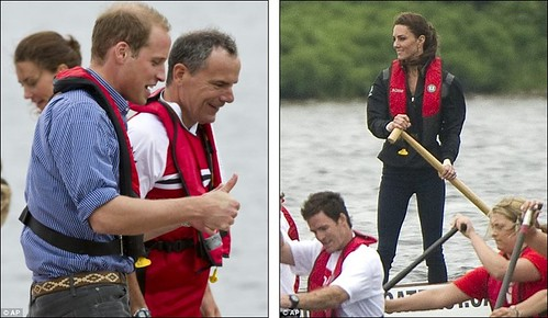 Prince William rules the waves as he beats Duchess of Cambridge in dragon boat race but despite the drizzly day Kate Middleton looks simply 23