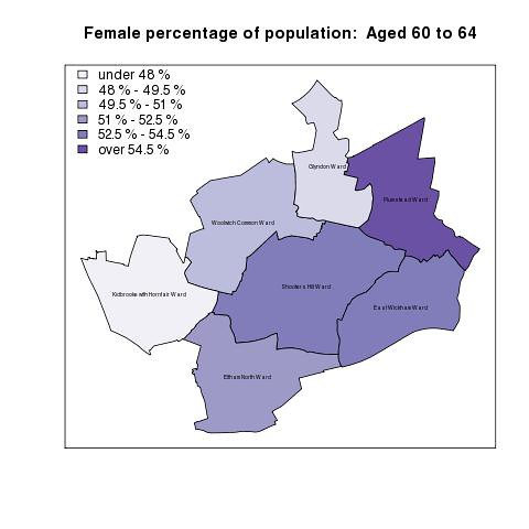 Female percentage of population:  Aged 60 to 64