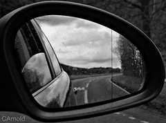 on the road (justyourcofchi) Tags: road sky bw white black reflection texture car clouds mirror model flickr photographer chiarnold justyourcupofchicom justyourcupofchi
