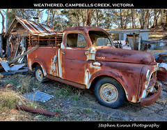 Weathered (Stephen Kinna Photography) Tags: old abandoned 1955 car creek truck photo rust decay shed engine rusty utility can victoria ute forgotten american rusted dodge chrysler grille wreck busted campbells fargo hdr castlemaine decayed decaying sheds campbellscreek photoengine oloneo