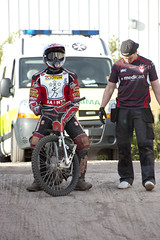 Gary Irving Waiting (Richard Amor Allan) Tags: bike mud bikes cycle stokeontrent rider speedway cycles riders pitlane motorcyles scunthorpesaints stokepotters loomerroad garyirving