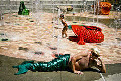 Splash! (TW Collins) Tags: hat lost splash waterfountain flippers seacreatures merman fishoutofwater panamajack splashpark outoftheordinary meagainmonday lostmerman