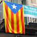 Pro-Independence Catalan Flag and Referendum Poster - Girona - Catalunya - Spain
