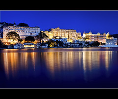where the Maharaja lives (PNike (Prashanth Naik)) Tags: india reflection monument architecture buildings nikon bluewater bluesky nightlight bluehour rajasthan udaipur citypalace kingspalace lakepichola reflectioninwater maharajapalace pnike
