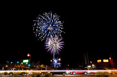 Tempe Traffic with Fireworks (cdricephotography) Tags: arizona nikon fireworks az tempe lightroom d90 20100704tempetownlakefireworks