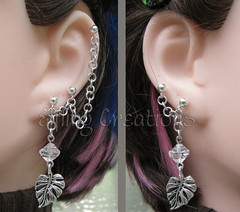 Silver leaf cartilage chain earrings