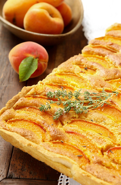 apricot, almond and thyme tart.