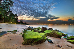 Sunrise at East Coast Park in Singapore - HDR (David Gn Photography) Tags: morning travel trees sky seascape beach nature clouds sunrise landscape lights moss singapore rocks sandy scenic tropical hdr eastcoastpark 3xp canoneos7d sigma1020mmf35exdchsm mygearandme sigma50th